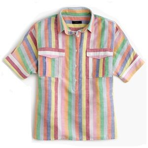 J. Crew Rainbow Candy Striped Linen Shirt Sz 0